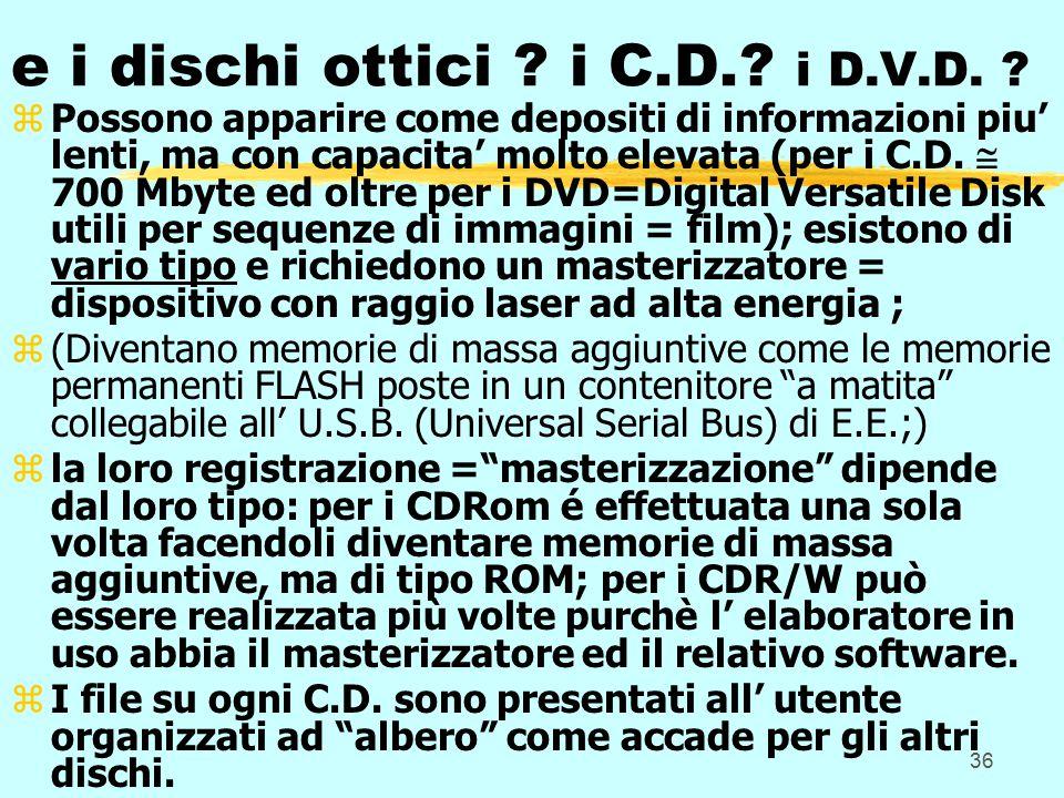 36 e i dischi ottici . i C.D.. i D.V.D.