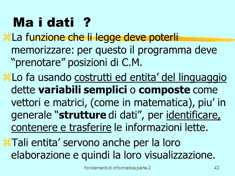 fondamenti di informatica parte 242 Ma i dati .