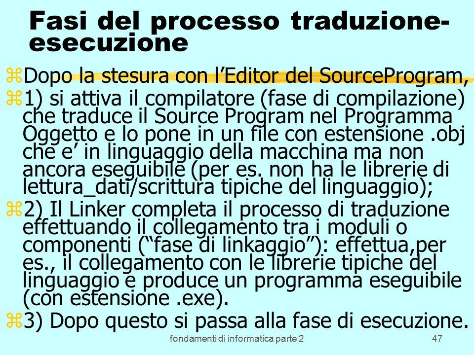 fondamenti di informatica parte 247 Fasi del processo traduzione- esecuzione zDopo la stesura con l'Editor del SourceProgram, z1) si attiva il compilatore (fase di compilazione) che traduce il Source Program nel Programma Oggetto e lo pone in un file con estensione.obj che e' in linguaggio della macchina ma non ancora eseguibile (per es.