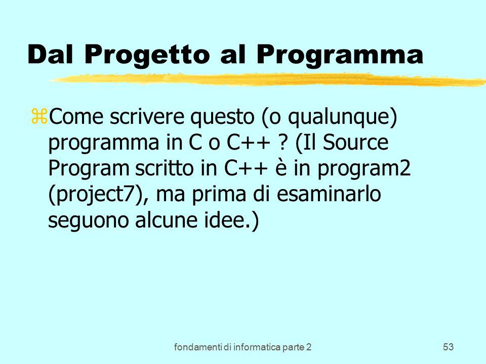 fondamenti di informatica parte 253 Dal Progetto al Programma zCome scrivere questo (o qualunque) programma in C o C++ .