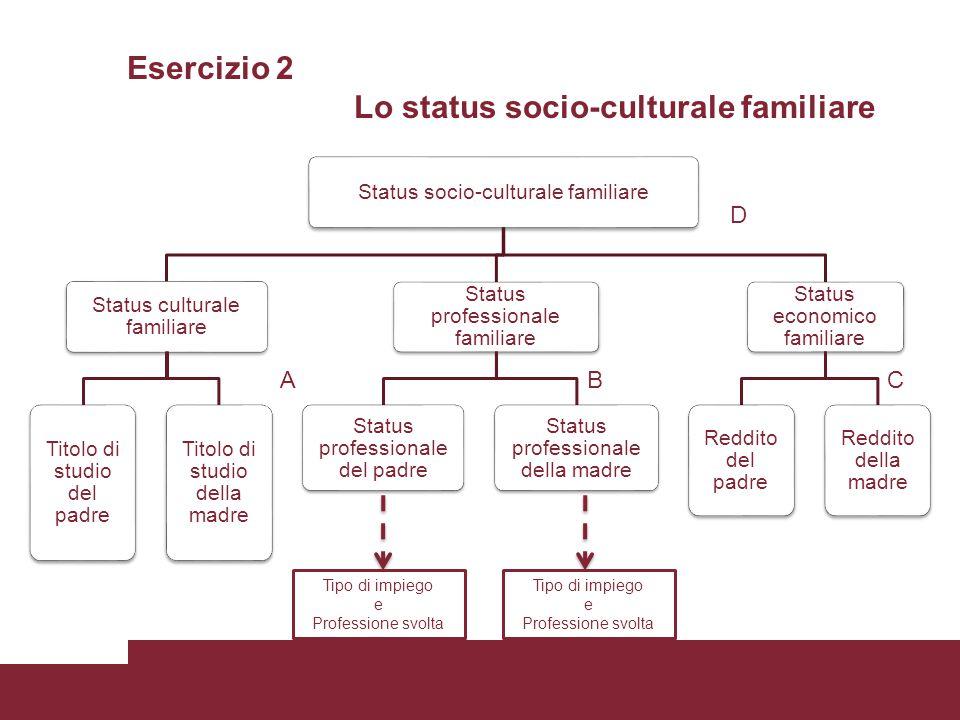 Esercizio 2 Lo status socio-culturale familiare Status socio-culturale familiare Status culturale familiare Titolo di studio del padre Titolo di studi