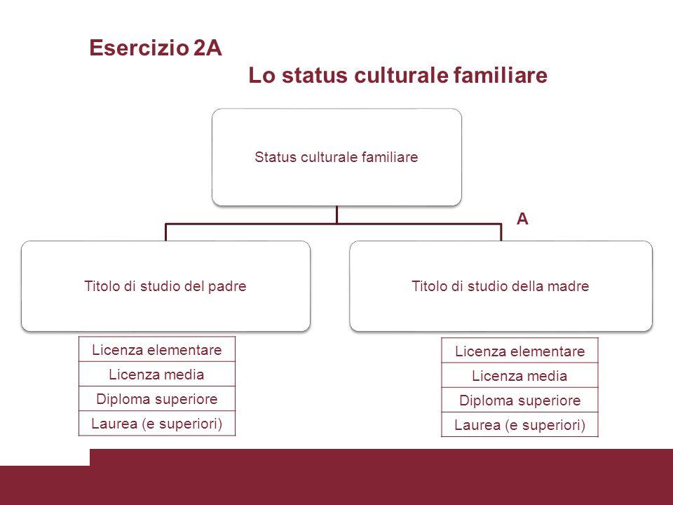 Esercizio 2A Lo status culturale familiare Status culturale familiare Titolo di studio del padreTitolo di studio della madre A Licenza elementare Lice