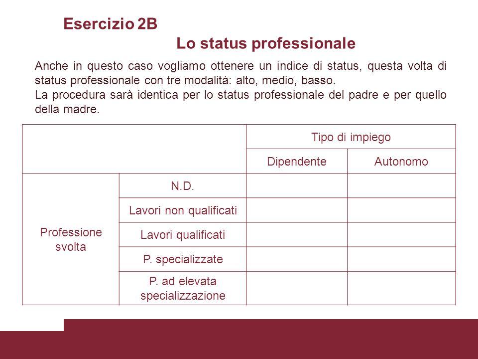 Esercizio 2B Lo status professionale Tipo di impiego DipendenteAutonomo Professione svolta N.D. Lavori non qualificati Lavori qualificati P. specializ