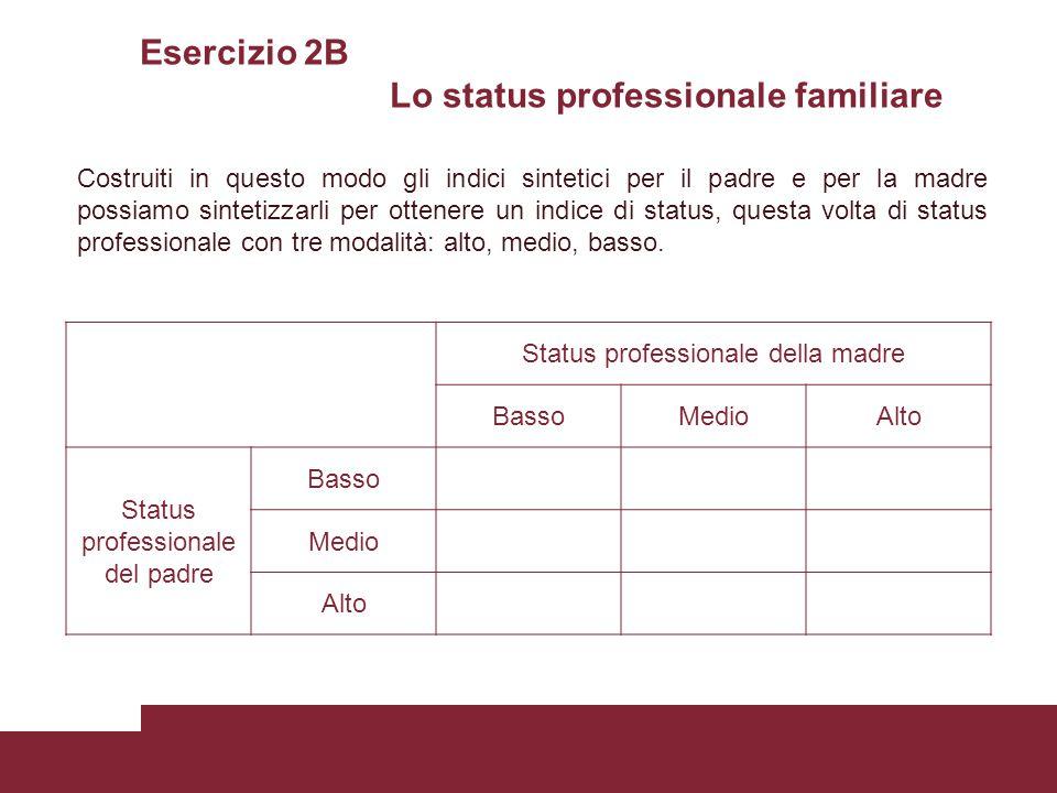 Esercizio 2B Lo status professionale familiare Status professionale della madre BassoMedioAlto Status professionale del padre Basso Medio Alto Costrui