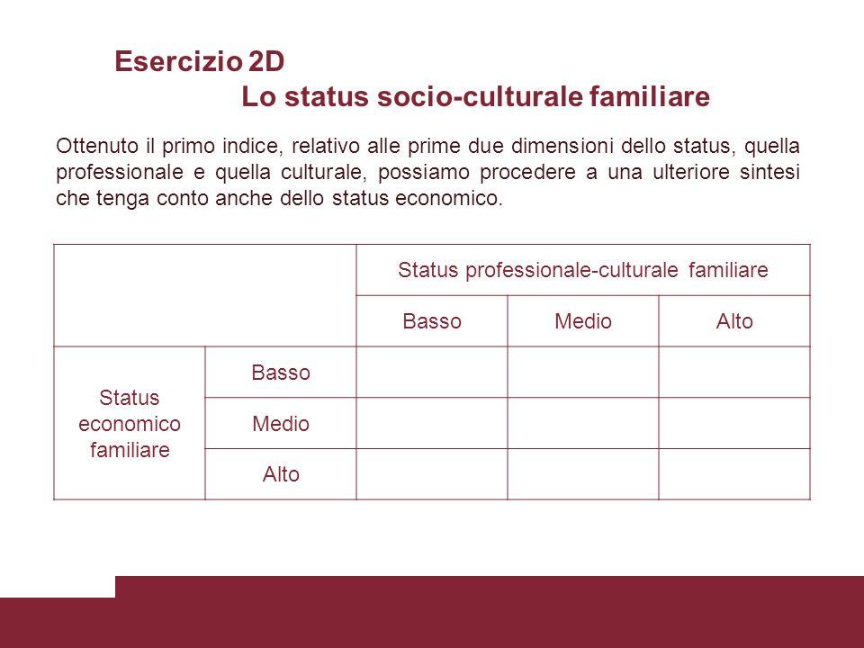 Esercizio 2D Lo status socio-culturale familiare Status professionale-culturale familiare BassoMedioAlto Status economico familiare Basso Medio Alto O