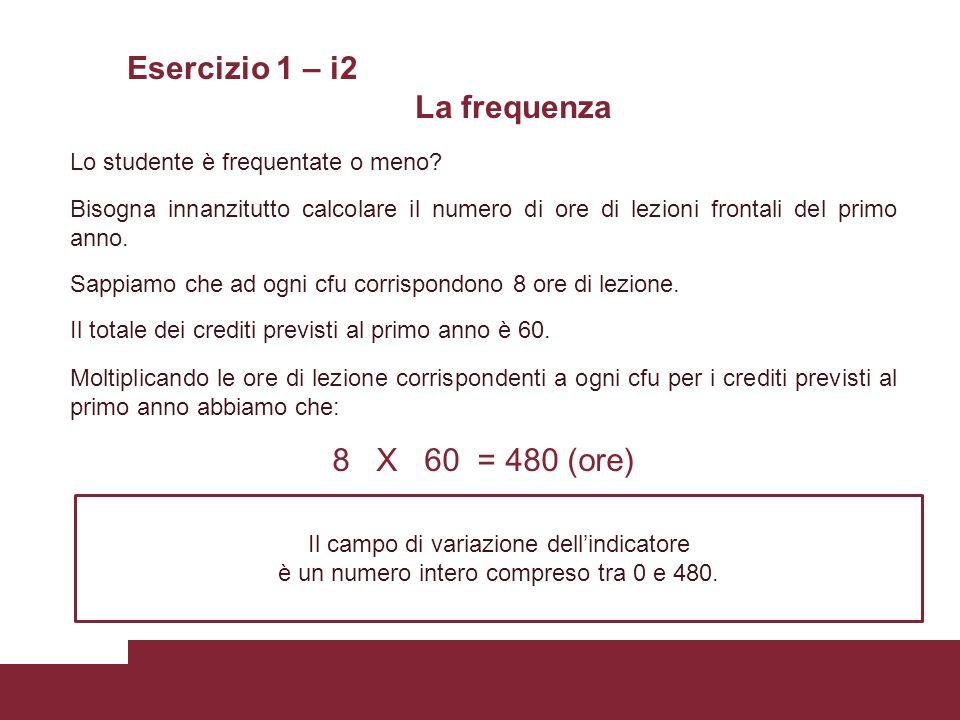Esercizio 1 – i2 La frequenza Lo studente è frequentate o meno? Bisogna innanzitutto calcolare il numero di ore di lezioni frontali del primo anno. Sa