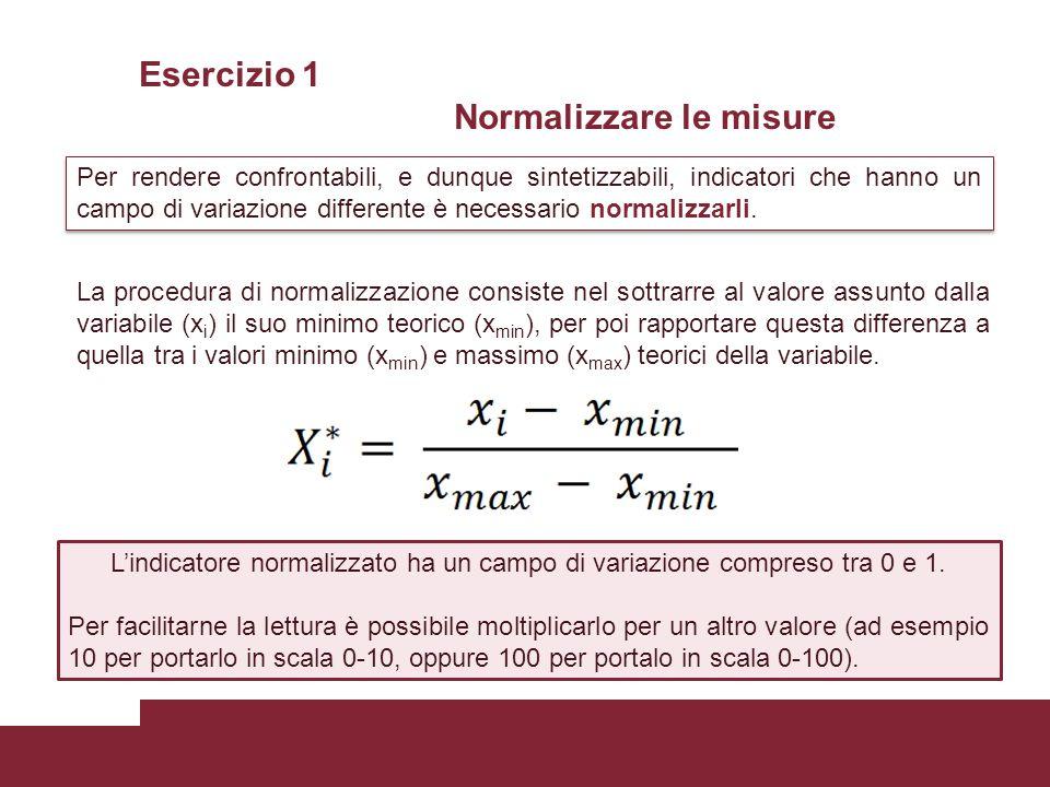 Esercizio 1 Normalizzare le misure Per rendere confrontabili, e dunque sintetizzabili, indicatori che hanno un campo di variazione differente è necessario normalizzarli.