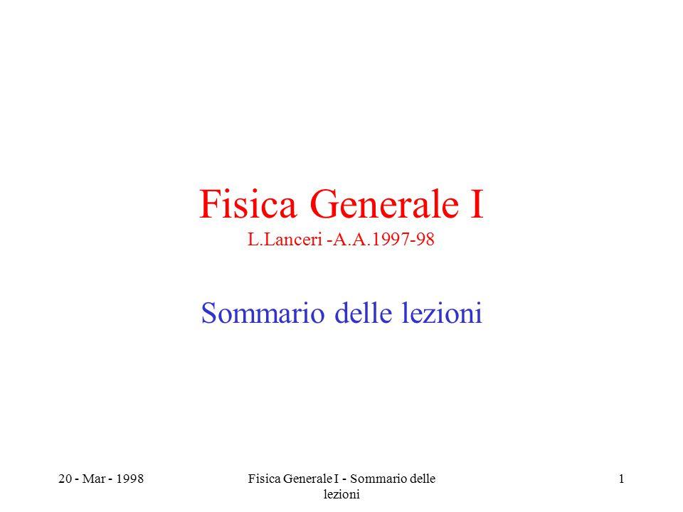 20 - Mar - 1998Fisica Generale I - Sommario delle lezioni 1 Fisica Generale I L.Lanceri -A.A.1997-98 Sommario delle lezioni