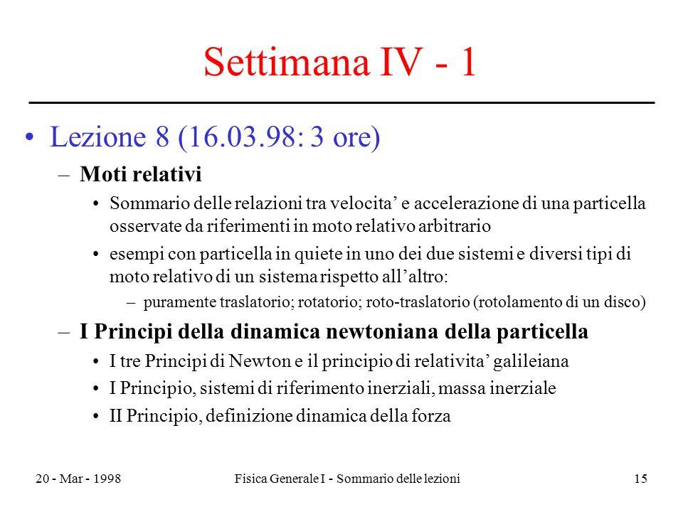 20 - Mar - 1998Fisica Generale I - Sommario delle lezioni15 Settimana IV - 1 Lezione 8 (16.03.98: 3 ore) –Moti relativi Sommario delle relazioni tra v