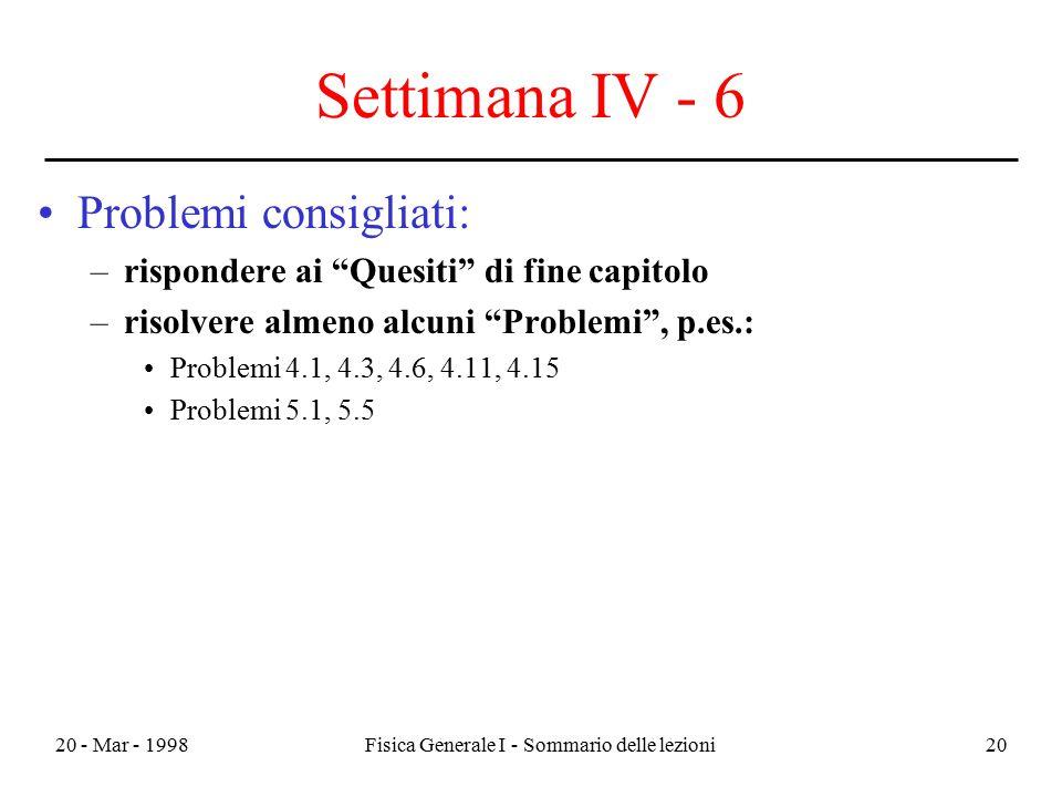 """20 - Mar - 1998Fisica Generale I - Sommario delle lezioni20 Settimana IV - 6 Problemi consigliati: –rispondere ai """"Quesiti"""" di fine capitolo –risolver"""