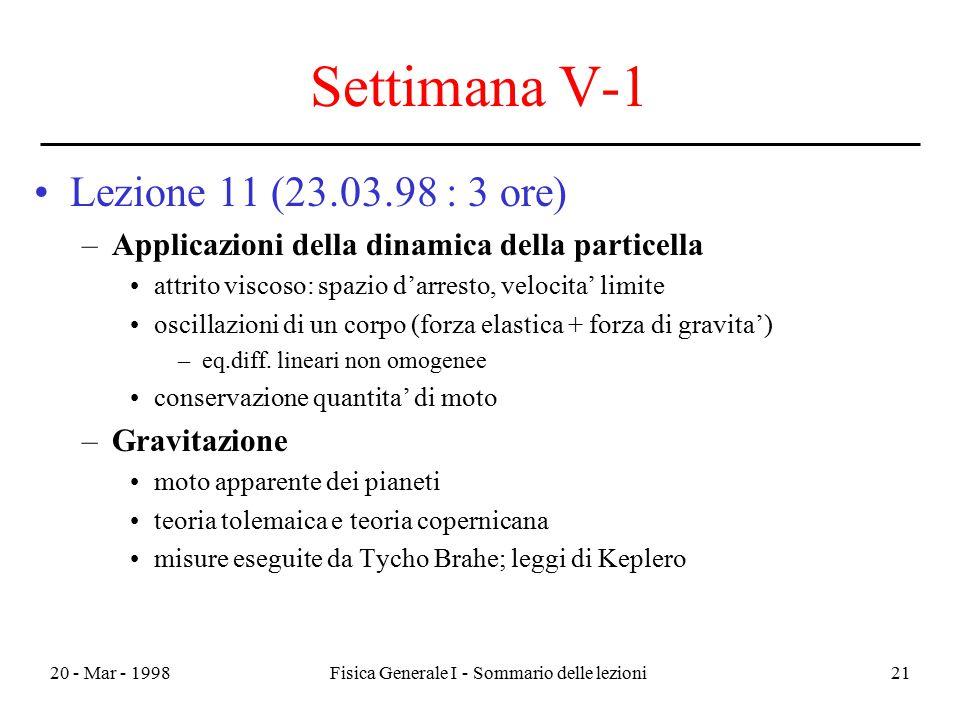 20 - Mar - 1998Fisica Generale I - Sommario delle lezioni21 Settimana V-1 Lezione 11 (23.03.98 : 3 ore) –Applicazioni della dinamica della particella