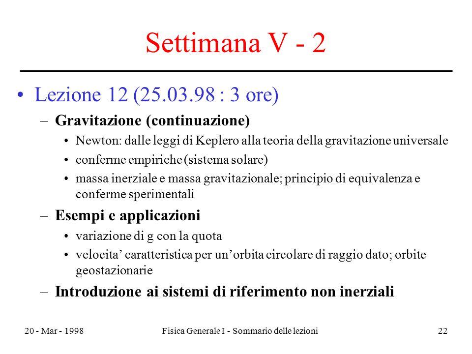 20 - Mar - 1998Fisica Generale I - Sommario delle lezioni22 Settimana V - 2 Lezione 12 (25.03.98 : 3 ore) –Gravitazione (continuazione) Newton: dalle