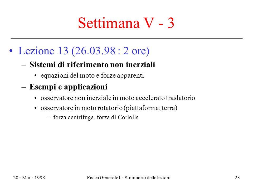 20 - Mar - 1998Fisica Generale I - Sommario delle lezioni23 Settimana V - 3 Lezione 13 (26.03.98 : 2 ore) –Sistemi di riferimento non inerziali equazi