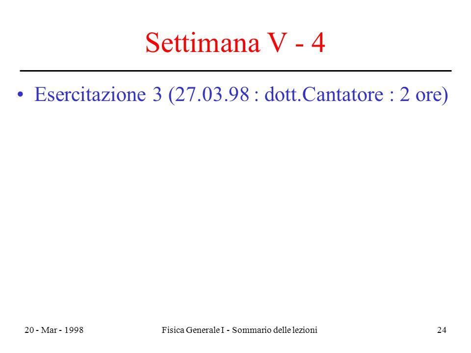 20 - Mar - 1998Fisica Generale I - Sommario delle lezioni24 Settimana V - 4 Esercitazione 3 (27.03.98 : dott.Cantatore : 2 ore)