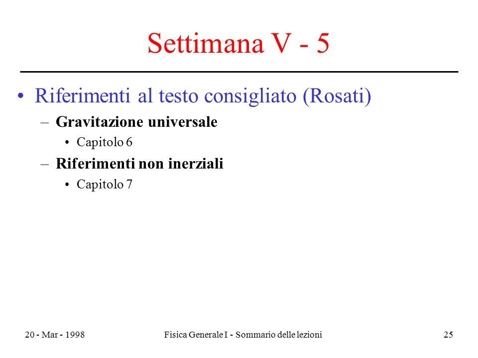 20 - Mar - 1998Fisica Generale I - Sommario delle lezioni25 Settimana V - 5 Riferimenti al testo consigliato (Rosati) –Gravitazione universale Capitol