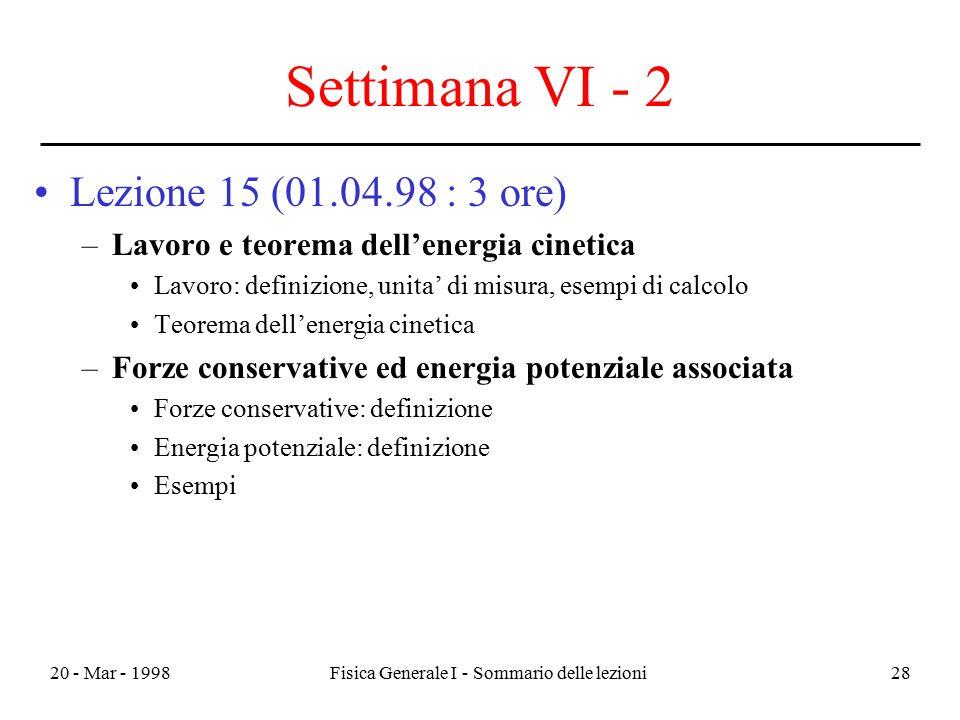 20 - Mar - 1998Fisica Generale I - Sommario delle lezioni28 Settimana VI - 2 Lezione 15 (01.04.98 : 3 ore) –Lavoro e teorema dell'energia cinetica Lav