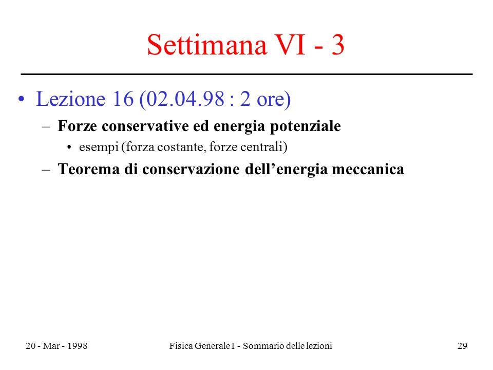 20 - Mar - 1998Fisica Generale I - Sommario delle lezioni29 Settimana VI - 3 Lezione 16 (02.04.98 : 2 ore) –Forze conservative ed energia potenziale e