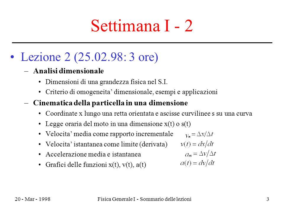 20 - Mar - 1998Fisica Generale I - Sommario delle lezioni3 Settimana I - 2 Lezione 2 (25.02.98: 3 ore) –Analisi dimensionale Dimensioni di una grandez