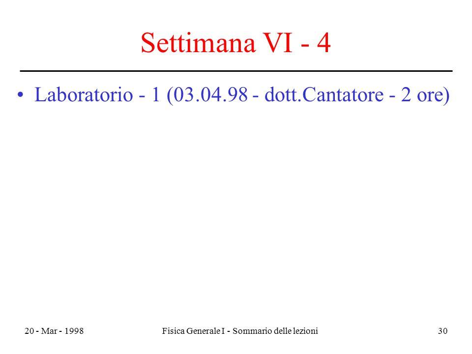 20 - Mar - 1998Fisica Generale I - Sommario delle lezioni30 Settimana VI - 4 Laboratorio - 1 (03.04.98 - dott.Cantatore - 2 ore)