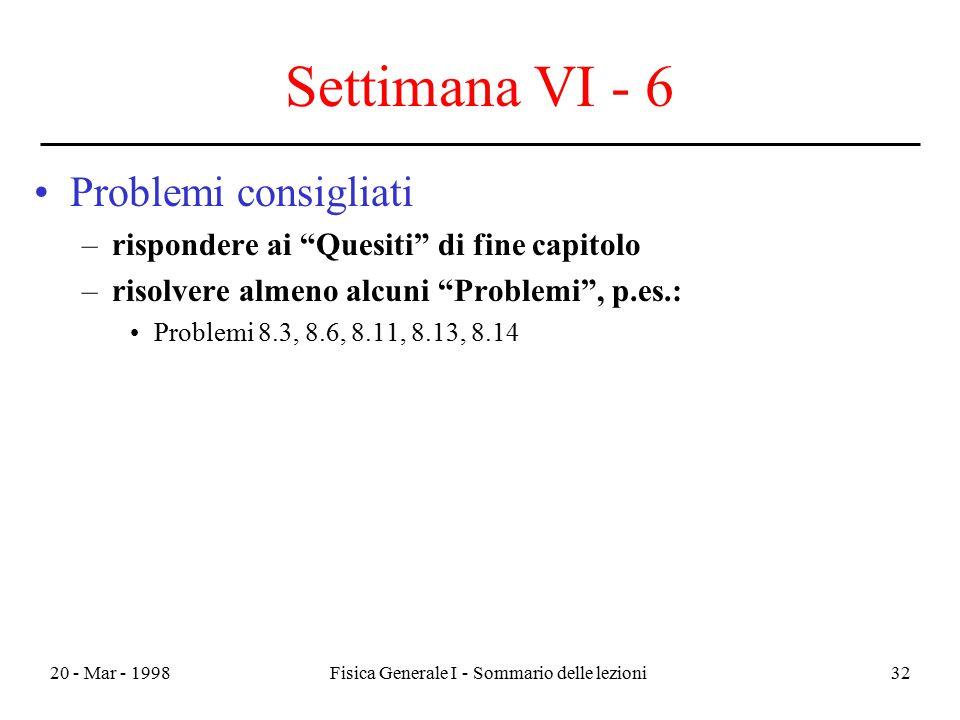 """20 - Mar - 1998Fisica Generale I - Sommario delle lezioni32 Settimana VI - 6 Problemi consigliati –rispondere ai """"Quesiti"""" di fine capitolo –risolvere"""