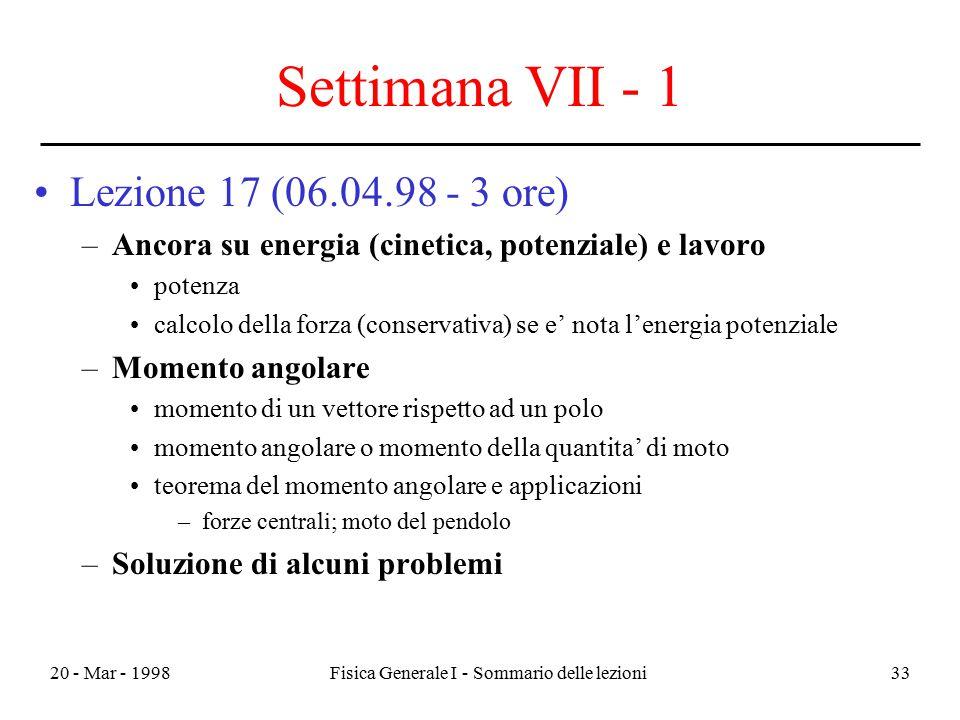 20 - Mar - 1998Fisica Generale I - Sommario delle lezioni33 Settimana VII - 1 Lezione 17 (06.04.98 - 3 ore) –Ancora su energia (cinetica, potenziale)