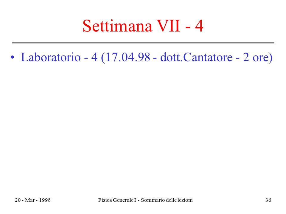 20 - Mar - 1998Fisica Generale I - Sommario delle lezioni36 Settimana VII - 4 Laboratorio - 4 (17.04.98 - dott.Cantatore - 2 ore)