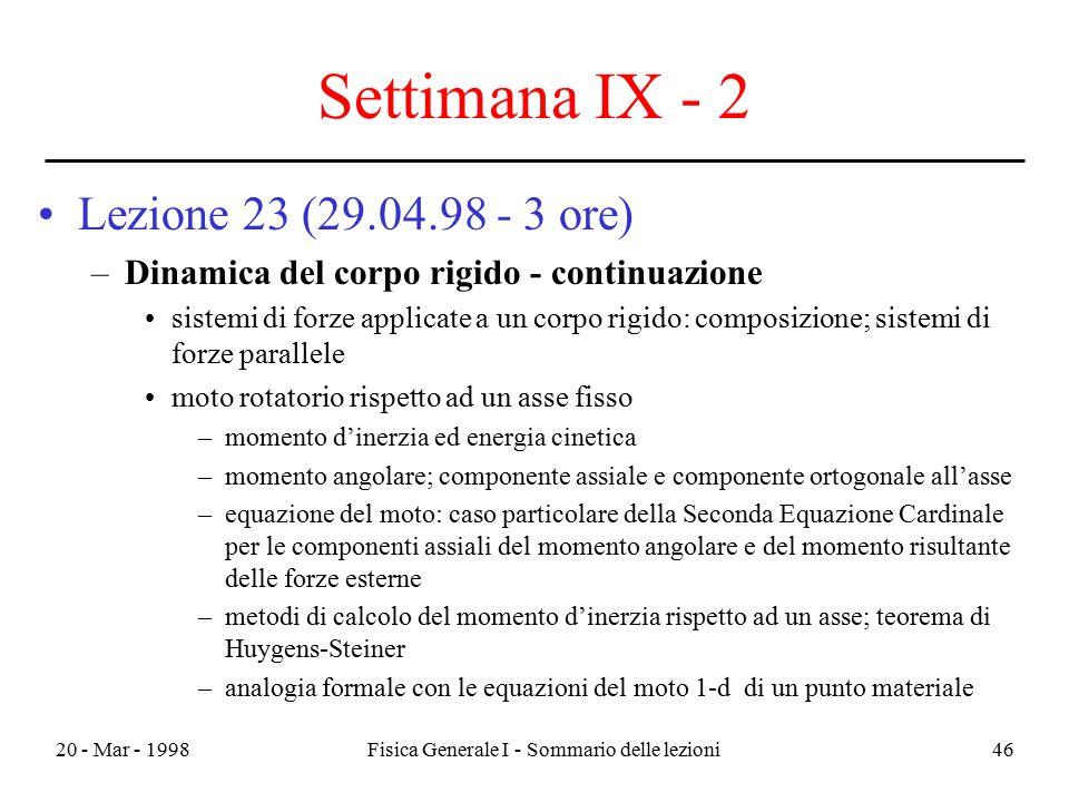 20 - Mar - 1998Fisica Generale I - Sommario delle lezioni46 Settimana IX - 2 Lezione 23 (29.04.98 - 3 ore) –Dinamica del corpo rigido - continuazione