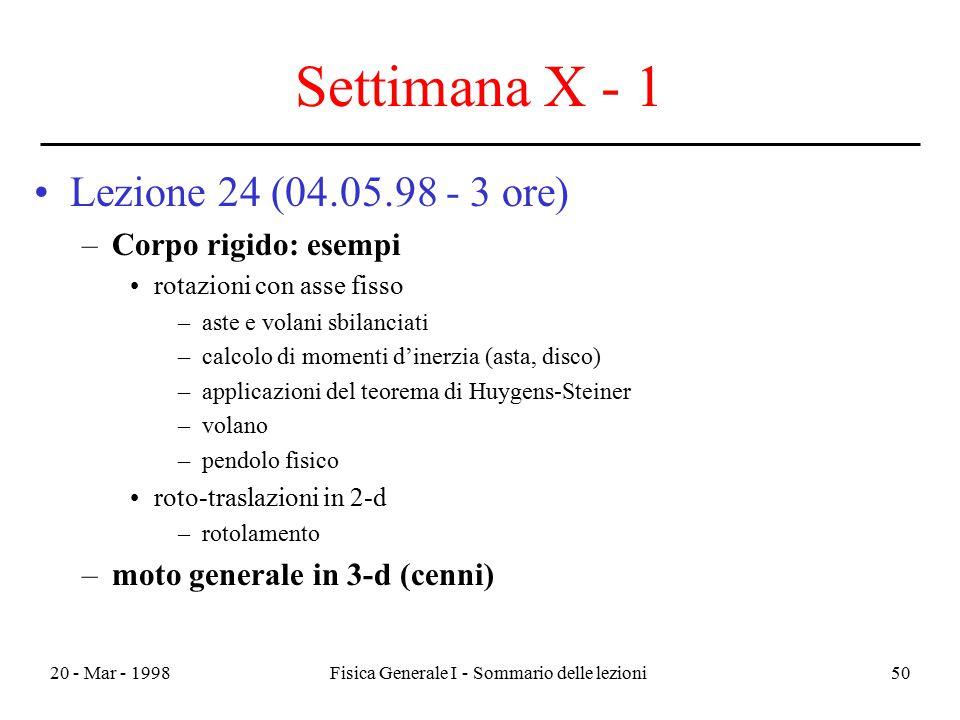 20 - Mar - 1998Fisica Generale I - Sommario delle lezioni50 Settimana X - 1 Lezione 24 (04.05.98 - 3 ore) –Corpo rigido: esempi rotazioni con asse fis