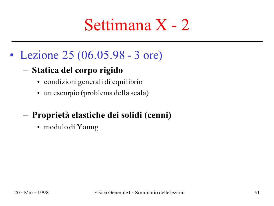 20 - Mar - 1998Fisica Generale I - Sommario delle lezioni51 Settimana X - 2 Lezione 25 (06.05.98 - 3 ore) –Statica del corpo rigido condizioni general