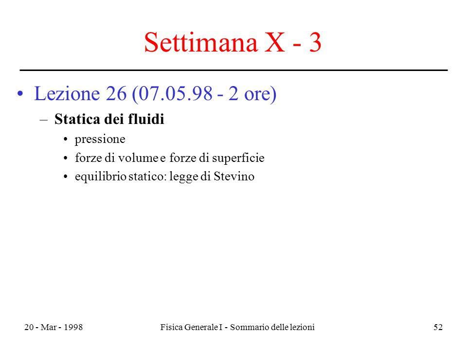 20 - Mar - 1998Fisica Generale I - Sommario delle lezioni52 Settimana X - 3 Lezione 26 (07.05.98 - 2 ore) –Statica dei fluidi pressione forze di volum