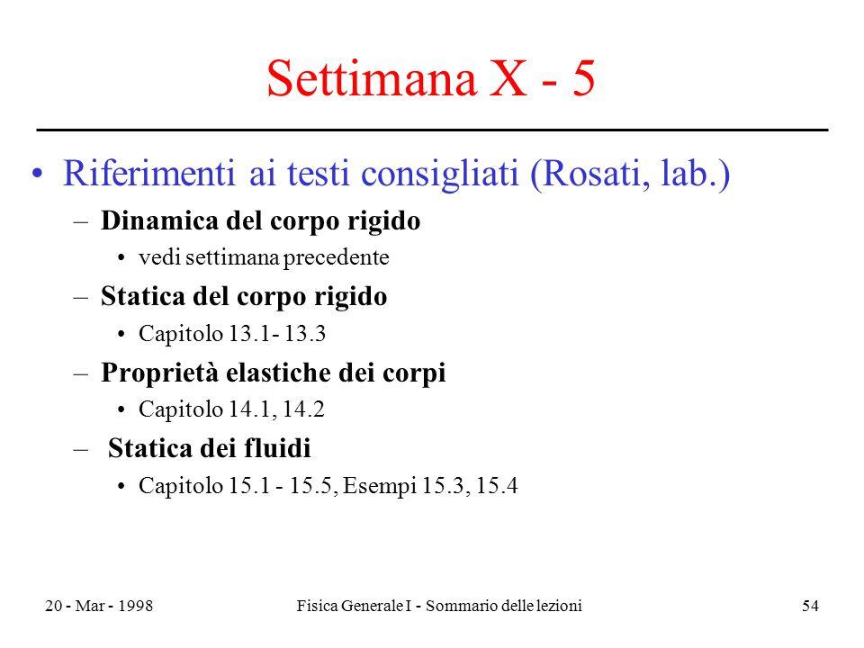 20 - Mar - 1998Fisica Generale I - Sommario delle lezioni54 Settimana X - 5 Riferimenti ai testi consigliati (Rosati, lab.) –Dinamica del corpo rigido