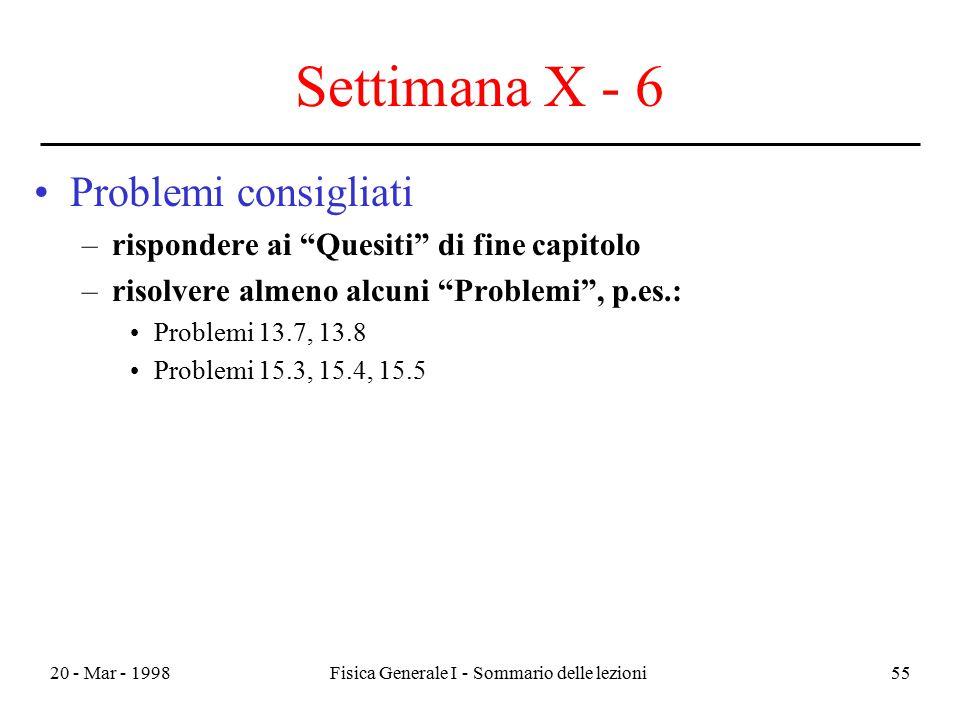 """20 - Mar - 1998Fisica Generale I - Sommario delle lezioni55 Settimana X - 6 Problemi consigliati –rispondere ai """"Quesiti"""" di fine capitolo –risolvere"""