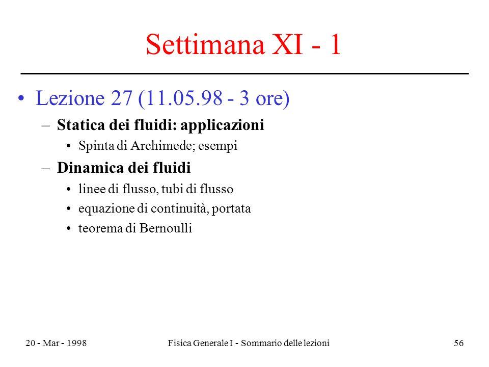 20 - Mar - 1998Fisica Generale I - Sommario delle lezioni56 Settimana XI - 1 Lezione 27 (11.05.98 - 3 ore) –Statica dei fluidi: applicazioni Spinta di