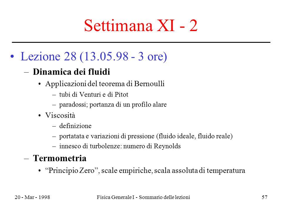 20 - Mar - 1998Fisica Generale I - Sommario delle lezioni57 Settimana XI - 2 Lezione 28 (13.05.98 - 3 ore) –Dinamica dei fluidi Applicazioni del teore