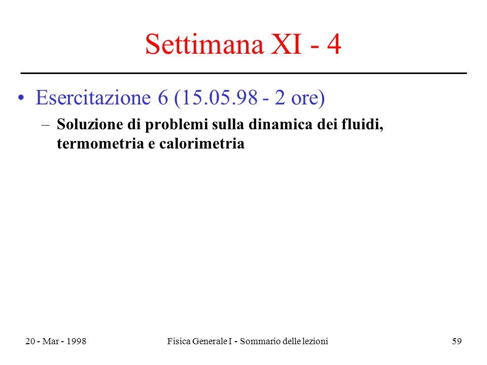 20 - Mar - 1998Fisica Generale I - Sommario delle lezioni59 Settimana XI - 4 Esercitazione 6 (15.05.98 - 2 ore) –Soluzione di problemi sulla dinamica