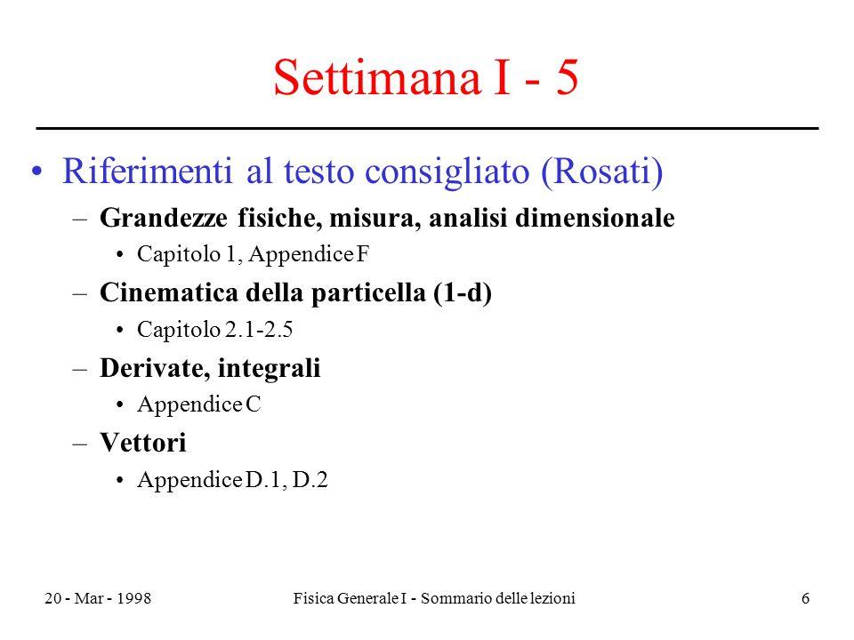 20 - Mar - 1998Fisica Generale I - Sommario delle lezioni6 Settimana I - 5 Riferimenti al testo consigliato (Rosati) –Grandezze fisiche, misura, anali