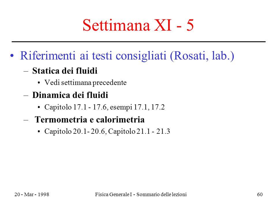 20 - Mar - 1998Fisica Generale I - Sommario delle lezioni60 Settimana XI - 5 Riferimenti ai testi consigliati (Rosati, lab.) –Statica dei fluidi Vedi