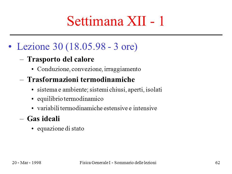 20 - Mar - 1998Fisica Generale I - Sommario delle lezioni62 Settimana XII - 1 Lezione 30 (18.05.98 - 3 ore) –Trasporto del calore Conduzione, convezio
