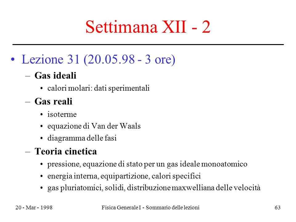 20 - Mar - 1998Fisica Generale I - Sommario delle lezioni63 Settimana XII - 2 Lezione 31 (20.05.98 - 3 ore) –Gas ideali calori molari: dati sperimenta