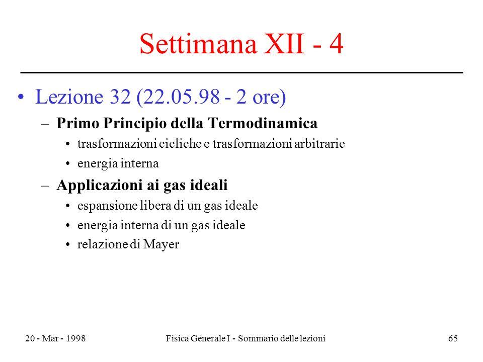 20 - Mar - 1998Fisica Generale I - Sommario delle lezioni65 Settimana XII - 4 Lezione 32 (22.05.98 - 2 ore) –Primo Principio della Termodinamica trasf
