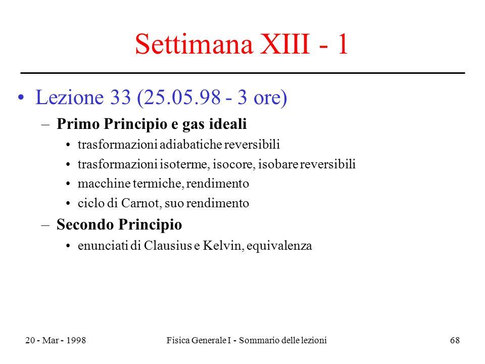 20 - Mar - 1998Fisica Generale I - Sommario delle lezioni68 Settimana XIII - 1 Lezione 33 (25.05.98 - 3 ore) –Primo Principio e gas ideali trasformazi