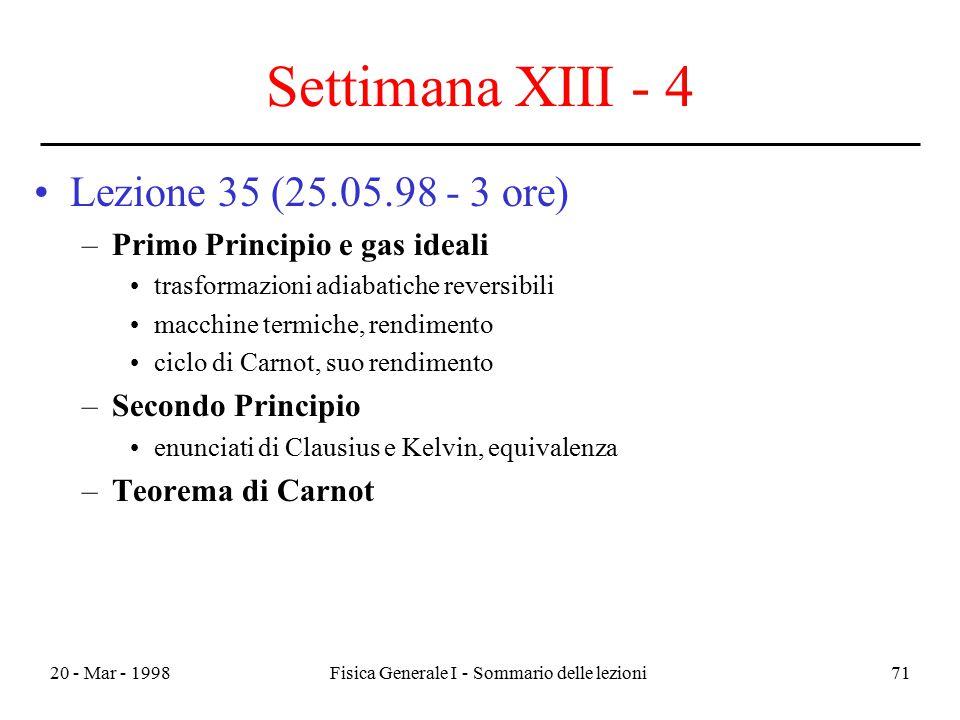 20 - Mar - 1998Fisica Generale I - Sommario delle lezioni71 Settimana XIII - 4 Lezione 35 (25.05.98 - 3 ore) –Primo Principio e gas ideali trasformazi