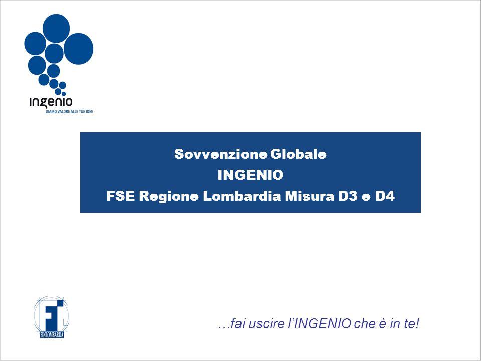 Sovvenzione Globale INGENIO FSE Regione Lombardia Misura D3 e D4 …fai uscire l'INGENIO che è in te!