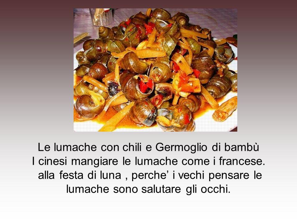 Le lumache con chili e Germoglio di bambù I cinesi mangiare le lumache come i francese. alla festa di luna, perche' i vechi pensare le lumache sono sa
