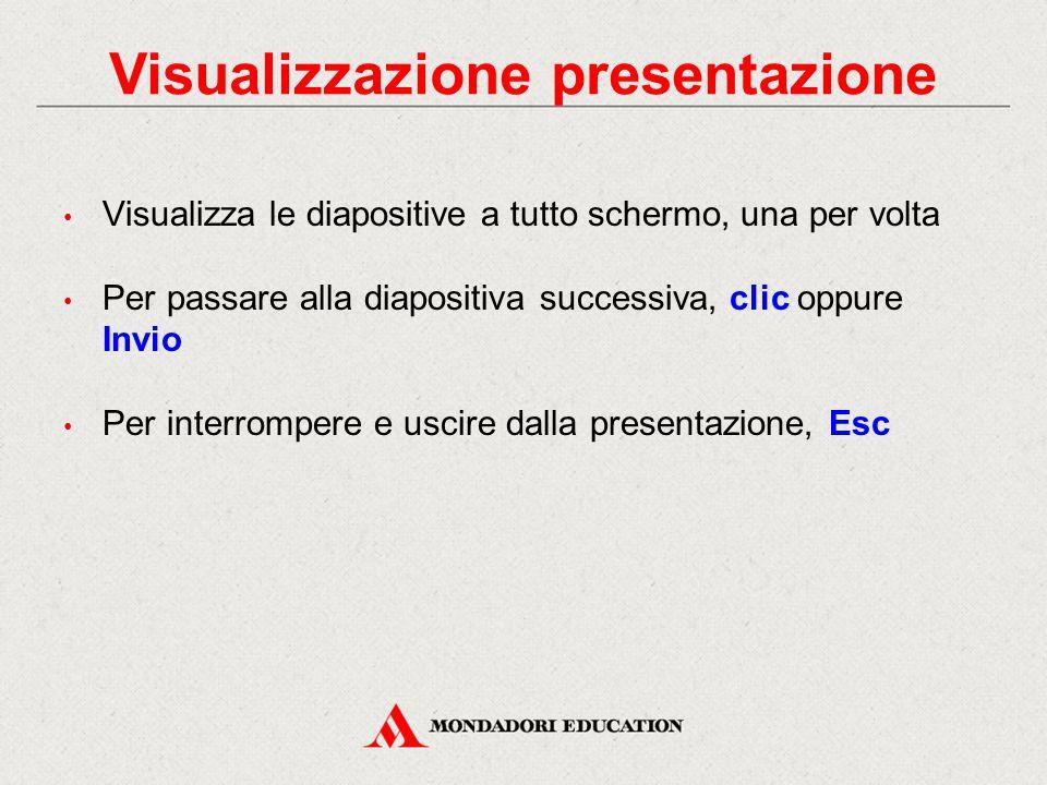 Visualizzazione presentazione Visualizza le diapositive a tutto schermo, una per volta Per passare alla diapositiva successiva, clic oppure Invio Per
