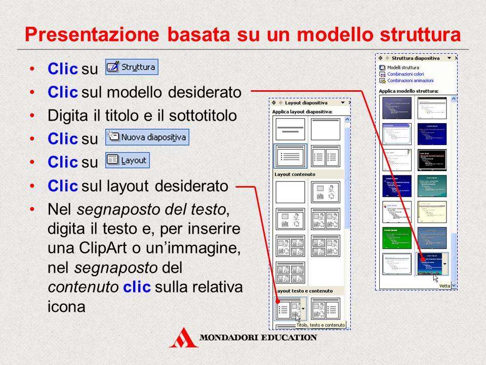 Presentazione basata su un modello struttura Clic su Clic sul modello desiderato Digita il titolo e il sottotitolo Clic su Clic sul layout desiderato Nel segnaposto del testo, digita il testo e, per inserire una ClipArt o un'immagine, nel segnaposto del contenuto clic sulla relativa icona
