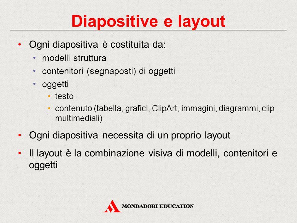 Diapositive e layout Ogni diapositiva è costituita da: modelli struttura contenitori (segnaposti) di oggetti oggetti testo contenuto (tabella, grafici