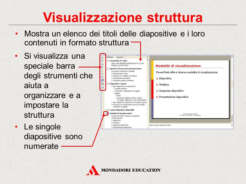Visualizzazione struttura Mostra un elenco dei titoli delle diapositive e i loro contenuti in formato struttura Si visualizza una speciale barra degli strumenti che aiuta a organizzare e a impostare la struttura Le singole diapositive sono numerate