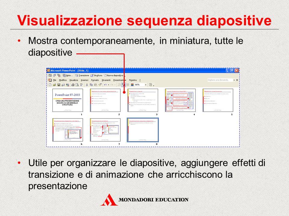 Visualizzazione sequenza diapositive Mostra contemporaneamente, in miniatura, tutte le diapositive Utile per organizzare le diapositive, aggiungere effetti di transizione e di animazione che arricchiscono la presentazione
