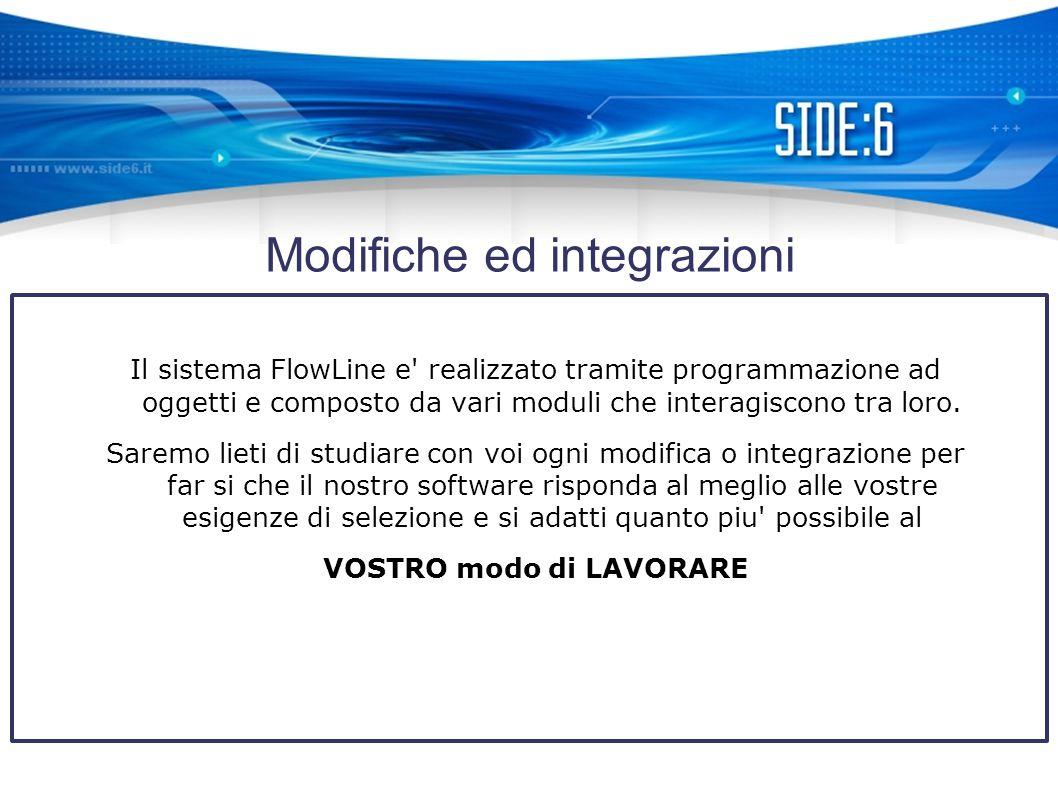Modifiche ed integrazioni Il sistema FlowLine e realizzato tramite programmazione ad oggetti e composto da vari moduli che interagiscono tra loro.